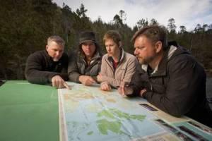 Cliff, Bobo, Ranae and Matt on Animal Planet's FINDING BIGFOOT.