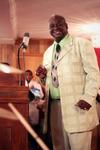 Rev. Larry Roseboro delivering sermon at his church, New Hope Baptist Church in Vale, NC. (Photo Credit: T Group Productions)