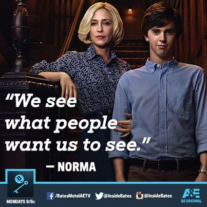 "Norma and Norman Bates from ""Bates Motel"" on A&E"